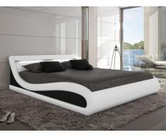 Estructura de cama ZALARIS - 160x200 cm - Piel sintética blanco con leds