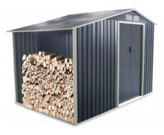 Caseta de jardín de acero galvanizado gris AGATO - 6,53 m2