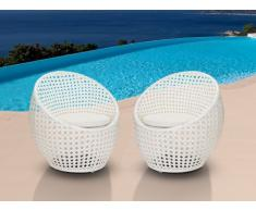 Conjunto de 2 sillones de jardín CAZAS de resina trenzada - Blanco