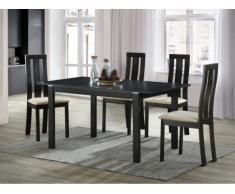 Conjunto de mesa + 4 sillas DOMINGO - Haya maciza - Wengué