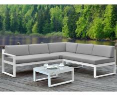 Conjunto de jardín PALAOS - Mesa de centro y sofá rinconero con asiento elevable de 6 plazas - Gris