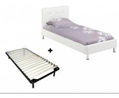 Cama GABIN + Somier de láminas - 90x200 cm - Piel sintética blanca