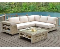 Conjunto de jardín KUOPIO de resina trenzada beige: sofá rinconero y mesa de centro