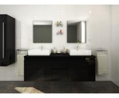 Conjunto de baño LAVITA II - Mueble + doble lavabo + espejo - Negro
