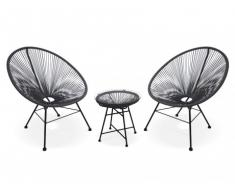Conjunto de jardín ALIOS II de fibras de resina trenzada - Negro : 2 sillas y una mesa