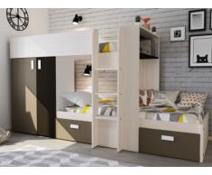 Cama litera JULIEN - 2x90x190 cm - Armario integrado - Pino blanco y chocolate