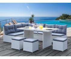 Conjunto de jardín con sofá rinconero PALAWAN de resina trenzada blanca y cristal templado: un sofá 5 plazas, 3 taburetes y una mesa - Asiento gris
