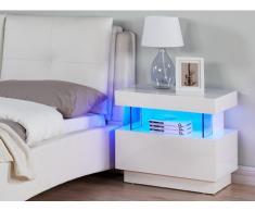 Mesa de noche FABIO - MDF lacado blanco - Luces led - 1 cajón y 1 hueco