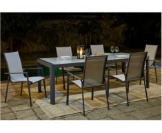 Comedor de jardín SAMAXI de aluminio - una mesa extensible 180/240cm + 6 sillones - Asiento blanco