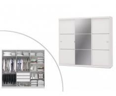 Armario con espejo VALMAR - 3 puertas correderas - Largo 250 cm - Blanco