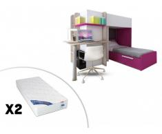 Cama litera SAMUEL - 2x90x190 cm - Pino blanco y rosa + 2 colchones ZEUS