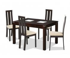 Conjunto mesa de comedor SALENA + 4 sillas DOMINGO - Haya maciza - Color wengué
