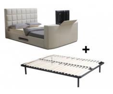 Estructura de cama PROFUSION con sistema TV integrado + somier de láminas - 160x200 cm - Blanco
