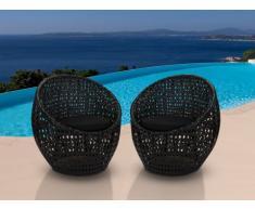 Conjunto de 2 sillones de jardín CAZAS de resina trenzada - Negro
