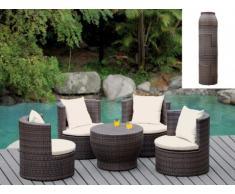 Conjunto de jardín SAO PAULO - Resina trenzada wengué: mesa y 4 sillones