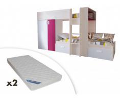 Cama litera JULIEN - 2x90x190 cm - Armario integrado - 3 colores - Pino blanco y fucsia + 2 colchones ZEUS 90x190