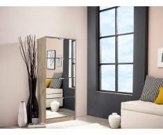 Mueble zapatero DORIANE - 4 compartimentos y espejos - Color roble