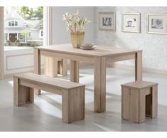 Conjunto mesa + 1 banco + 2 taburetes ALARIE - 6 comensales - Color roble