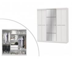 Armario con espejo WILHEM - 4 puertas - Largo 203 cm - Blanco
