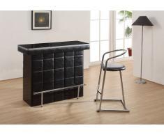 Mueble bar CARDY - Piel sintética y cristal templado - Negro