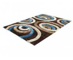 Alfombra shaggy SHIMODA - Azul y chocolate - Poliéster - 160x230 cm