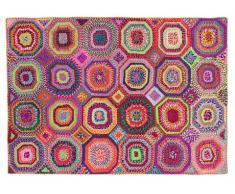 Alfombra tejida a mano con materiales reciclados de estilo bohemio chic TAPAY - 160 x 230 cm - Multicolor