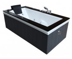 Bañera de hidromasaje ATLAS - Madera de lujo color gris y negro