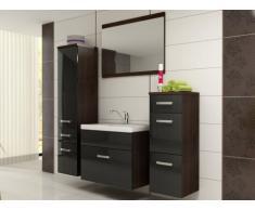 Conjunto de baño NASSAU - Lavabo + muebles + espejo - Negro