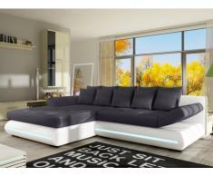 Sofá cama rinconero de tela y piel sintética con LEDs MATTIAS - Blanco y gris - Ángulo izquierdo