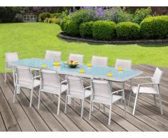 Comedor de jardín PALAOS - Mesa extensible, 10 sillas - Blanco