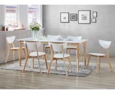 Pack de salón comedor: Conjunto de mesa + 6 sillas CARINE - Color blanco