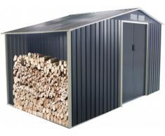 Caseta de jardín de acero galvanizado gris AGATO - 12,95m2