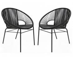 Conjunto de 2 sillones para jardín KELIOS de fibras de resina trenzada - Negro
