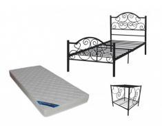 PACK dormitorio INFANTIL LEYNA - cama de 90x190 cm + colchón y mesita de noche - Negro