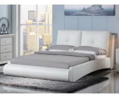 Cama BERTIN + somier de láminas - 160x200 cm - Piel sintética blanca