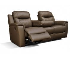 Sofá 3 plazas relax EVASION de piel - Chocolate - Mesa auxiliar