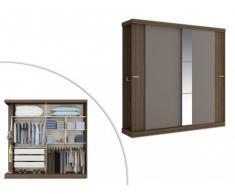 Armario ADALRIK - 2 puertas correderas - Largo 231 cm - Chocolate y marrón topo