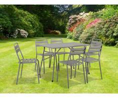 Comedor de jardín LUXEMBOURG de acero: 1 mesa y 6 sillas - Gris arenoso