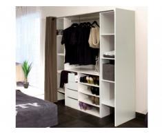Conjunto de armario vestidor + mueble EMERIC - Blanco & Topo