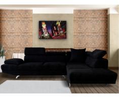 Sofá rinconero XL de tela ROMAIN - Negro - Ángulo derecho