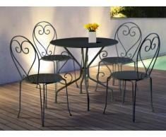 Comedor de jardín de hierro forjado GUERMANTES: mesa + 4 sillas - Gris antracita
