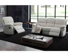 Sofá relax 3+1 plazas de piel MILAGRO - Blanco marfil