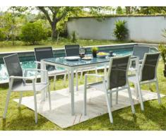 Comedor de jardín MAHINA de aluminio - una mesa + 6 sillones - Asiento antracita