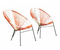 Conjunto de 2 sillas de jardín ALIOS II de fibras de resina trenzada - Coral, rosa, blanco
