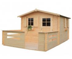 Caseta de jardín MICHIKO Superficie 9.9m² + terraza 6.4m² - grosor 28mm