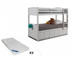 Cama litera separable ANCHISE - 90x190cm - Con compartimentos - Lacado blanco + 2 colchones ZEUS 90x190 cm