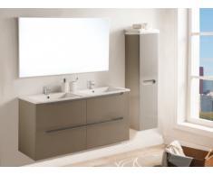 Conjunto SELITA - muebles para baño con doble lavabo y espejo - Lacado topo