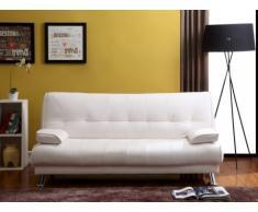 Sofá cama clic-clac MAXIME - Piel sintética - Blanco