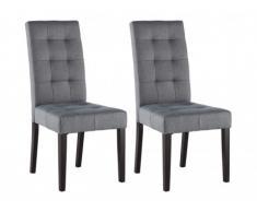 Conjunto de 2 sillas VILLOSA - Tela gris y Patas de madera oscura