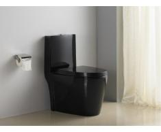 Inodoro (WC) de pie DAIKI II con tapa silenciosa - Negro